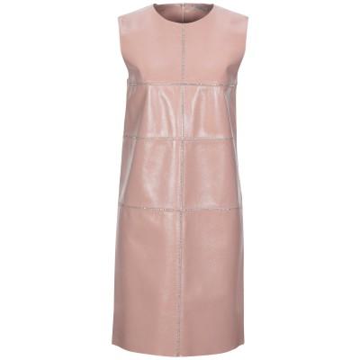 NINA RICCI ミニワンピース&ドレス ピンク 34 羊革(ラムスキン) 100% / クリスタル / レーヨン ミニワンピース&ドレス