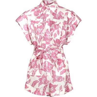 ジマーマン Zimmermann レディース オールインワン プレイスーツ ワンピース・ドレス bells white floral-print linen playsuit Pink