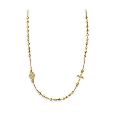 Solid 14k Yellow Gold Sideways Cross Beaded Rosary Style Necklace Chain【並行輸入品】