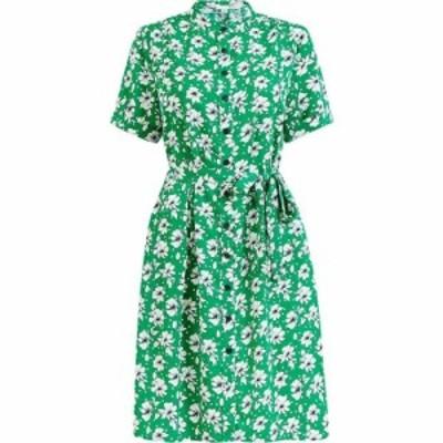 ユミ Yumi レディース ワンピース シャツワンピース ワンピース・ドレス Green Flower And Spot Print Shirt Dress Green
