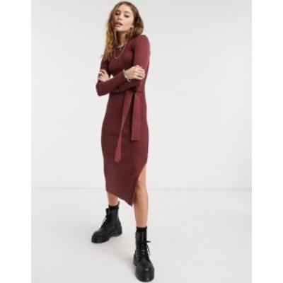 エイソス レディース ワンピース トップス ASOS DESIGN knitted rib long dress in brown Brown