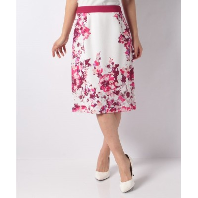 (LAPINE BLANCHE/ラピーヌ ブランシュ)花柄パネルプリントセミタイトスカート/レディース ピンク