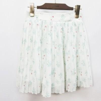 【中古】コルザ COLZA スカート ミニ丈 プリーツ 花柄 シフォン インナーパンツ M 白 ホワイト系 レディース