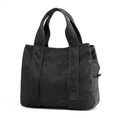 女性向け キャンバスハンドバッグ カジュアル 大容量 ショルダーバッグ Black