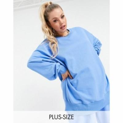 コルージョン Collusion レディース スウェット・トレーナー トップス Plus oversized sweatshirt in bright blue co-ord ブルー