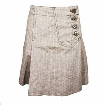 【中古】マークバイマークジェイコブス フレアスカート タック 膝丈 ハーフ コットン ボタン サイズ0 茶 レディース