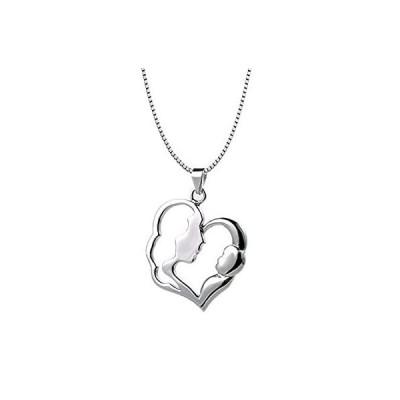 """【送料無料】Sterling Silver Mom Mother Child Pendant Heart Necklace 18"""" Chain"""
