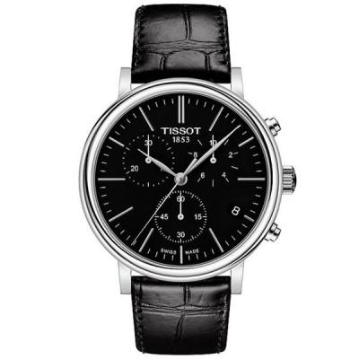ティソット メンズ 腕時計 アクセサリー Men's Carson Black Leather Strap Watch