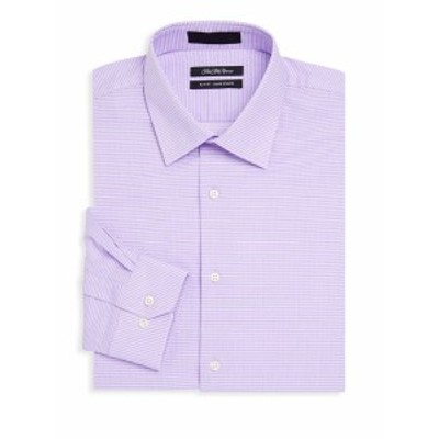 サックスフィフスアベニュー メンズ ドレスシャツ ワイシャツ Slim-Fit Two-Way Stripe Cotton Dress Shirt