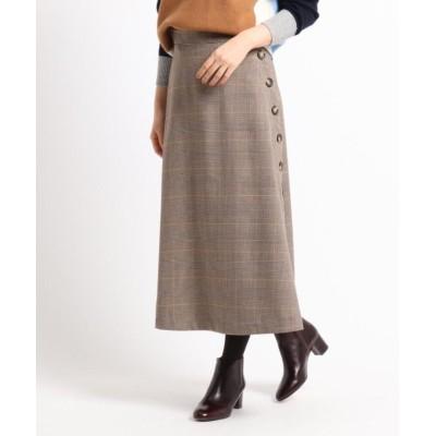 【デッサン】 ボタンチェックAラインスカート レディース イエロー 01(S) Dessin