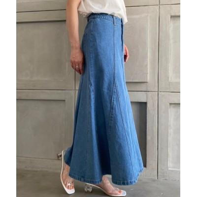 moment+ / カラーヘビーツイル&デニムマーメイドスカート WOMEN スカート > デニムスカート