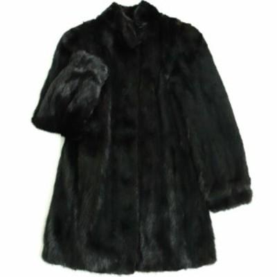 美品▼SAGA MINK サガミンク 本毛皮コート ブラック 毛質艶やか・柔らか◎