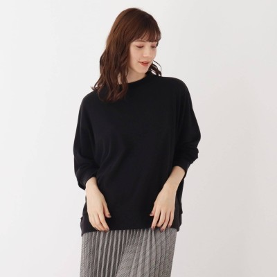 シューラルー SHOO-LA-RUE 【M-LL】リブプチハイネックプルオーバー (ブラック)