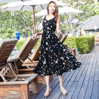夏ワンピース レディース ビーチ 星柄 ドレス ワンピース ボヘミアン風 ハイウエスト ビーチ 旅行 春ワンピース 20代 30代