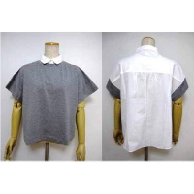 ミューニックMunichシャツカラー異素材プルオーバー /グレー