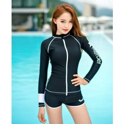 ラッシュガード 長袖 ロゴ ワンポイント ジップアップ ボードショーツ付き 大人可愛い シンプル フェミニン カジュアル 夏 ビーチ プール RG-0011
