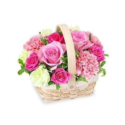 【誕生日フラワーギフト・バラ】ピンクのウッドバスケット ya0b-512162 花キューピット 花 ギフト お祝い 記念日