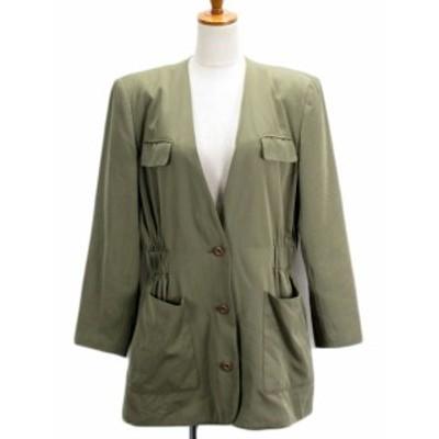 【中古】オットー OTTO Collection ジャケット ノーカラー シャーリング 11 緑 カーキ レディース