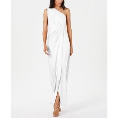 カルバンクライン ワンピース トップス レディース Draped One-Shoulder Gown Cream