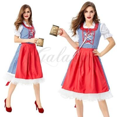 ビールガール ドイツ チロリアン 可愛い メイド服 ワンピース 民族衣装 S-XXL ハロウィン 演出用 コスプレ衣装(ps3844)