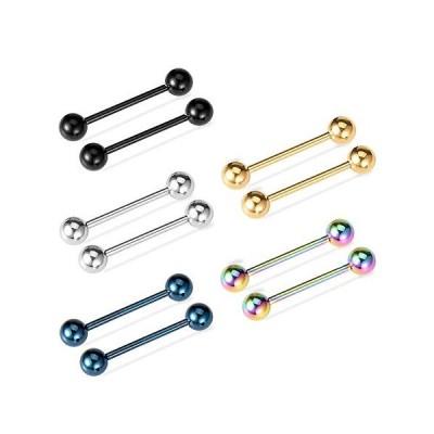 Cizen 5PCS ステンレススチールストレートバーベル、リップ鼻アイブロー ニップル耳舌リングボディピアス 5色付き  5 Pairs