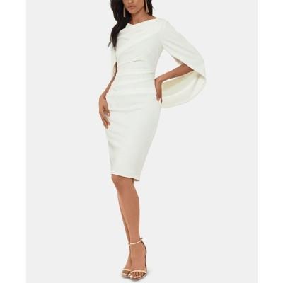 ベッツィ アンド アダム ワンピース トップス レディース Caped Sheath Dress White