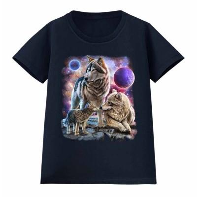 【月 狼 オオカミ】レディース 半袖 Tシャツ by Fox Republic