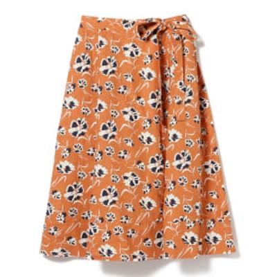 【アウトレット】BEAMS HEART / フラワープリント ラップ風スカート