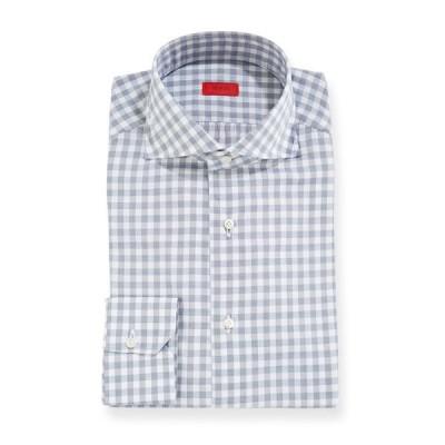 イザイア メンズ シャツ トップス Men's Gingham Dress Shirt