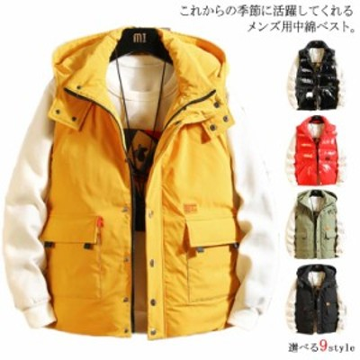 【2タイプ】中綿ベスト メンズ 無地 ベスト ポケット付き トップス フード付き アウター メンズファッション 厚手 大きいサイ