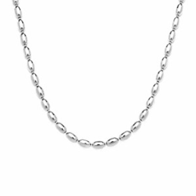 925 Sterling Silver Oval Bead Necklace, 3MM, 4MM Sterling Silver Bead Ball Necklace, Rice Bead Chain Necklace, Silver Beaded Nec