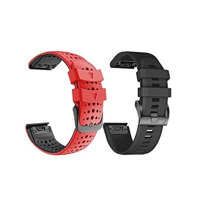 ANCOOL Compatible with Fenix 5 Band Black and Red Bundle