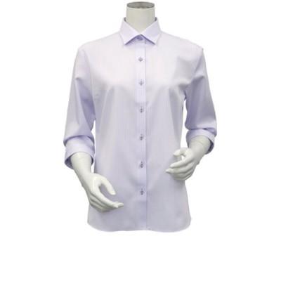 レディース ウィメンズシャツ 七分袖 形態安定 ワイド衿 パープル×ストライプ織柄 (再生ポリエステル)