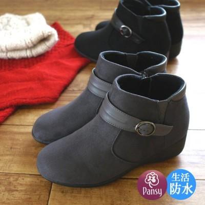 パンジー pansy アンクルブーツ 靴 レディース 生活防水 撥水 抗菌 滑りにくい 保温 ウエッジソール ラウンドトゥ スエード 黒 グレー ベルト サイドゴム 3e 冬