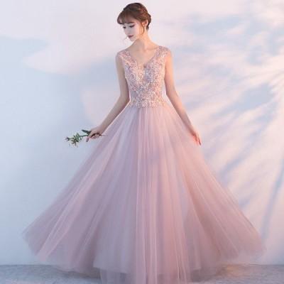 イブニング ドレス パーティードレス ロングドレス レースドレス Vネック ウェディングドレス 披露宴 二次会 司会 ドレス ワンピース お呼ばれda015y5y5y5