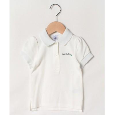 【プチバトーアウトレット】 鹿の子編み半袖ポロシャツ(F) キッズ ホワイト 3才95cm(3ans) PETIT BATEAU OUTLET