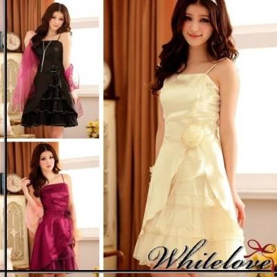 パーティードレス 3色 ミニ ミニドレス カラードレス 大きいサイズ 結婚式 二次会 お呼ばれ パーティー パーティ カラー ドレス 衣装 サッシュリボン 膝丈