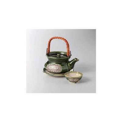 土瓶蒸し 土瓶  織部菊土瓶むし(瀬戸焼) 土瓶蒸し 直火可 陶器 美濃焼 日本製