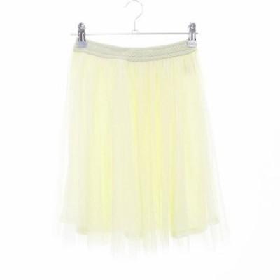 【中古】ナイスクラップ NICE CLAUP natural couture スカート フレア ミニ チュール 無地 F ベージュ /CK レディース