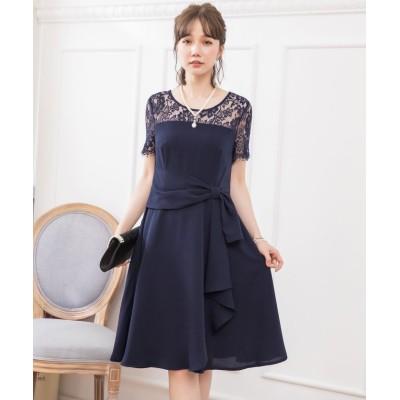 【ドレス スター】 レーススリーブサイドドレープドレス レディース ネイビー XXXLサイズ DRESS STAR