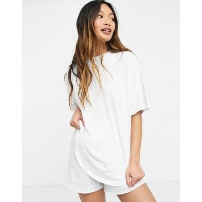 エイソス レディース Tシャツ トップス ASOS DESIGN high neck T-shirt with curved hem in white White