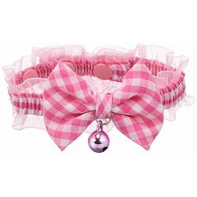 ねこモテ チェック猫リボンカラー 3S (ミニ猫用) ピンク (猫用首輪)
