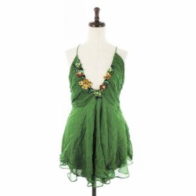 【中古】ザラウーマン ZARA WOMAN ワンピース キャミワンピ ミニ 花柄 M 緑 グリーン /CK レディース