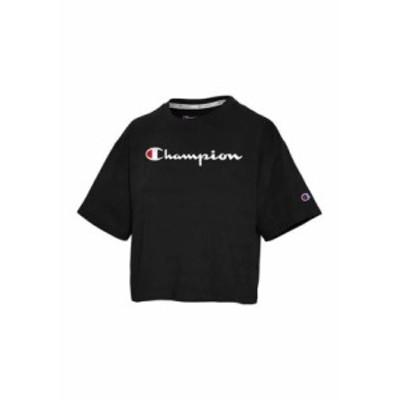 チャンピオン レディース Tシャツ トップス The Cropped Graphic T-Shirt Black