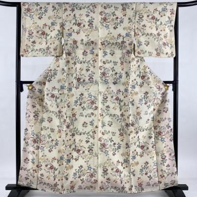 小紋 美品 秀品 草花 鳥 紬地 クリーム 袷 163cm 63cm S 正絹 中古
