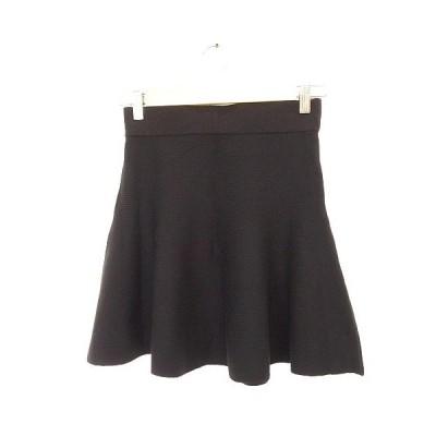 【中古】ジーユー GU スカート ニット フレア ミニ 黒 M *A26  レディース【ベクトル 古着】