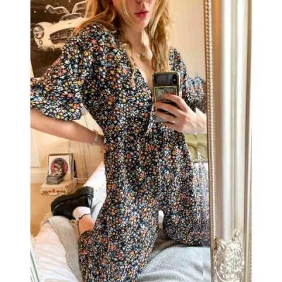エイソス ASOS DESIGN レディース オールインワン ジャンプスーツ ワンピース・ドレス Wrap Textured Smock Jumpsuit In Ditsy Floral フローラル