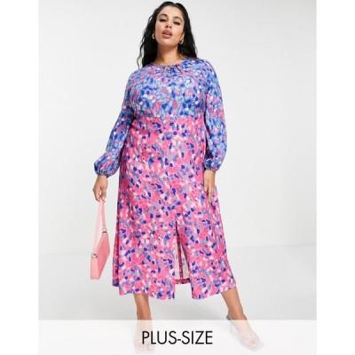 クローゼット ドレス 大きいサイズ レディース Closet London Plus gathered midaxi dress in contrast bright spot mix エイソス ASOS