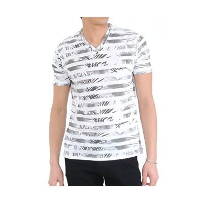 (スペイド) SPADE Tシャツ メンズ 半袖 総柄 花柄 ボーダー Vネック リゾート 【e153】 (M ボーダーグレー)