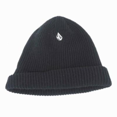 【中古】ボルコム VOLCOM 帽子 ニット帽 折り返し ロゴ ワンポイント 黒 ブラック /TT30 レディース
